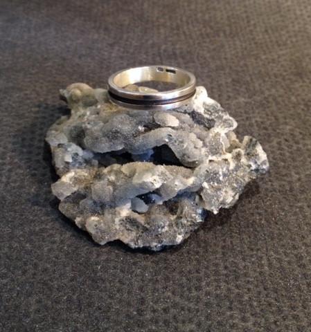 Narrow, oxidised, stripe ring.  £79