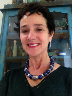 Lapis Lazuli necklace  £495, and Drop Twist earrings  £95