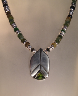 Tourmaline beetle necklace.   SOLD