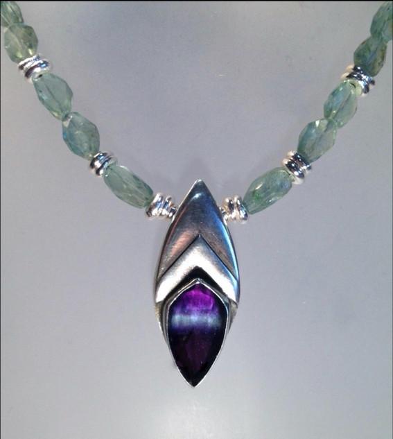 Bi-colour Fluorite necklace.  SOLD