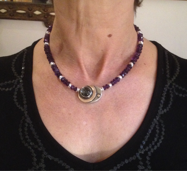 Rutile quartz and Amethyst necklace.  £550.