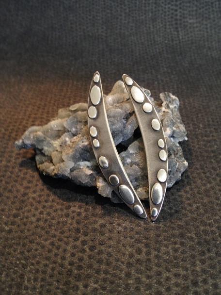 Long, spot earrings, Sterling silver.  £95