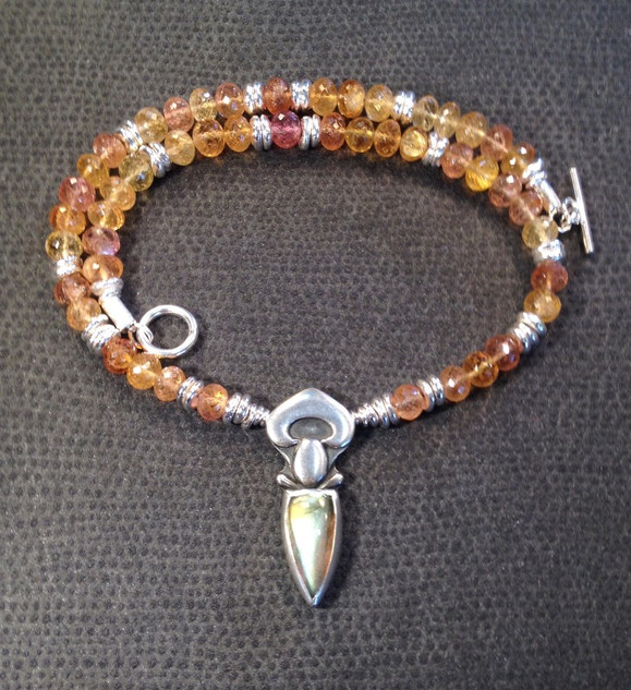 Topaz, Sterling silver and Labradorite necklace.  £395