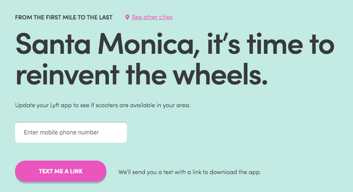 Lyft Bikes and Scooters: Santa Monica landing page