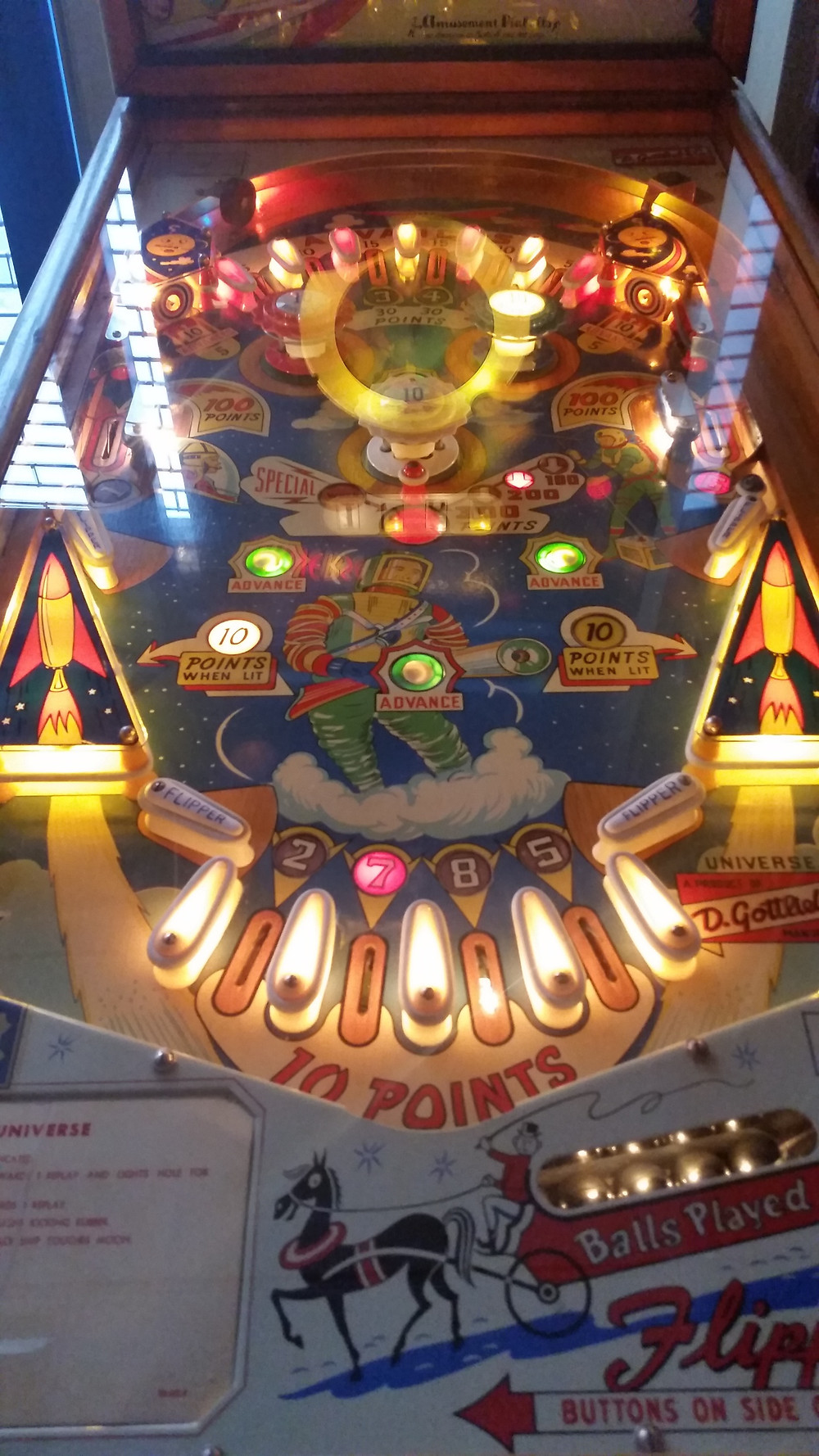Gottlieb, Universe from October 1959 woodrail EM (electro-mechanical) pinball
