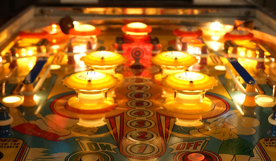 Gottlieb 1962 single playerOlympics pinball playfield close up