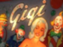 Gottlieb 1964 Gigi pinball machine backglass detail