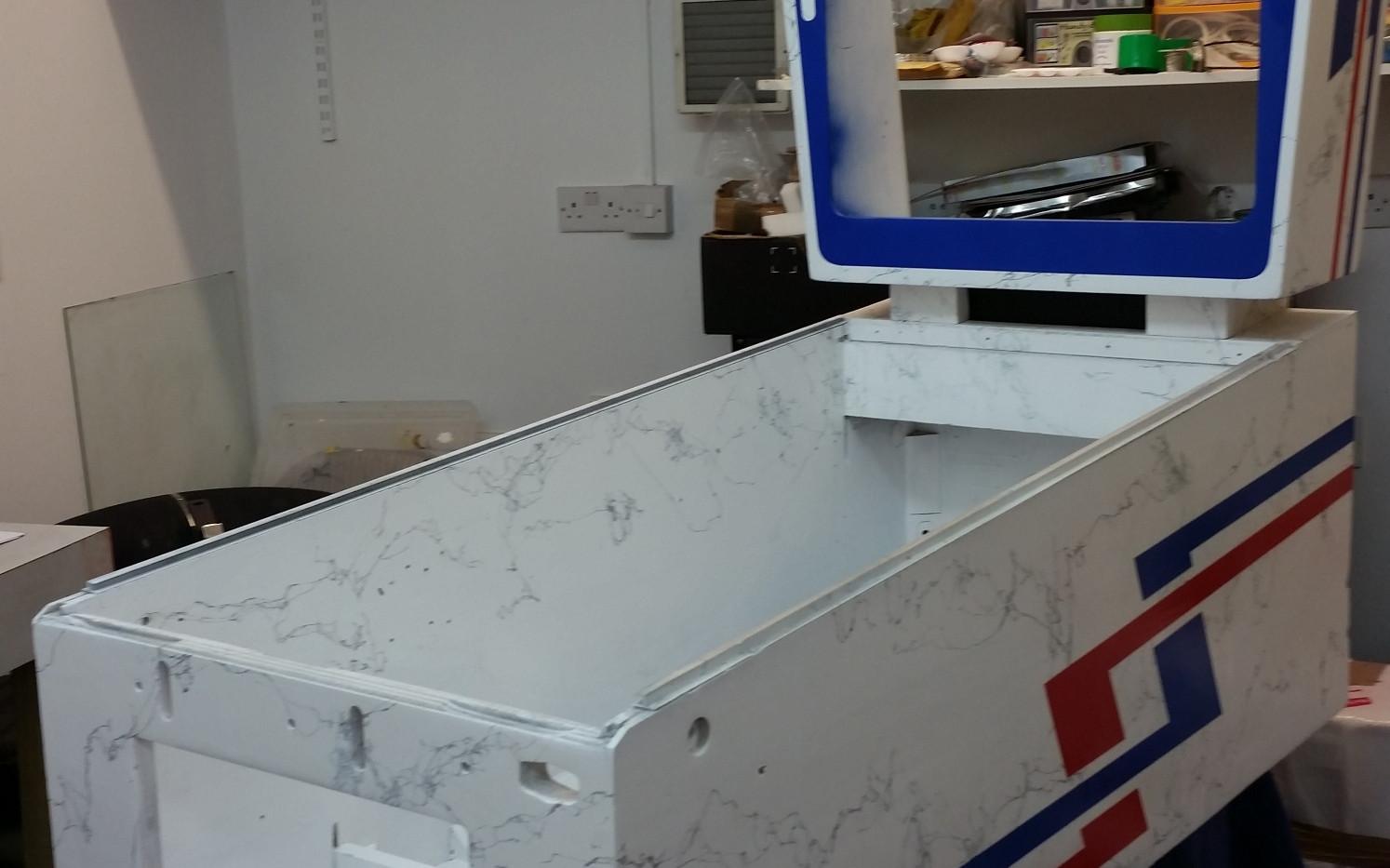 Slick Chick 1964 Gottlieb single player wedgehead cabinet and backbox restoration by Pinball Creative