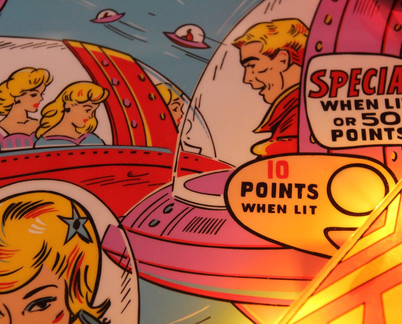 Bally 1963 Star-Jet repainted playfield close up (detail)