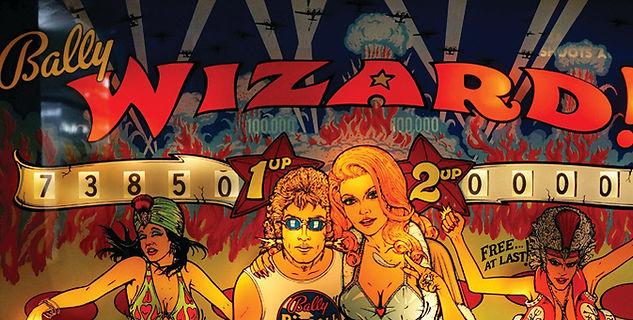 Bally 1975 Wizard! pinball backglass section