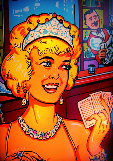 Gottlieb 1965 Kings & Queens pinball machine blonde lady in backglass with cards