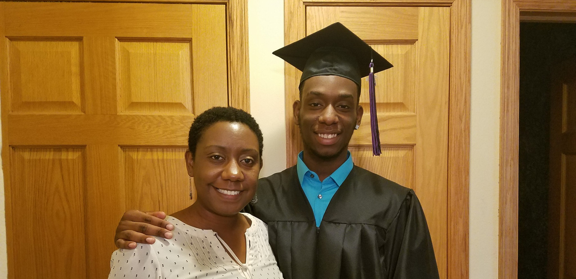 Angela and her son for his high school graduation