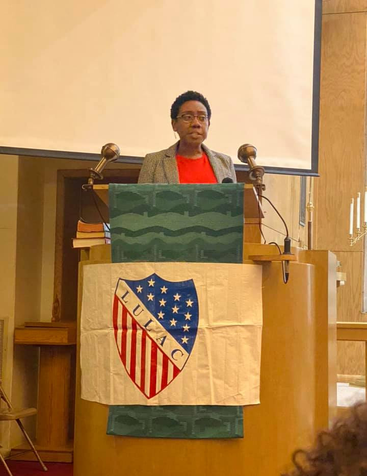 Angela speaking at Grace Lutharn Church