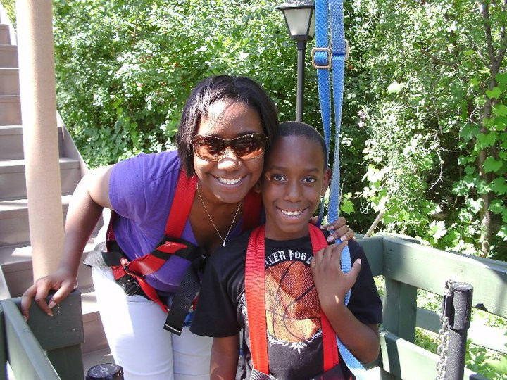 Angela and her son at Six Flags Great America