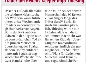 SV Burlo trauert um Ingo Thiesing