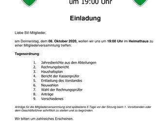 Der SV Burlo lädt herzlich ein zur Mitgliederversammlung am 08.10.20. Erstmalig im Heimathaus Burlo!