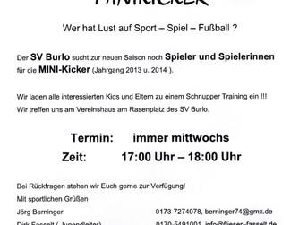 Bock auf Fußball in Burlo und vom Jahrgang 2013 und 2014?Dann kommt zum SV BURLO.......Wir suchen Eu