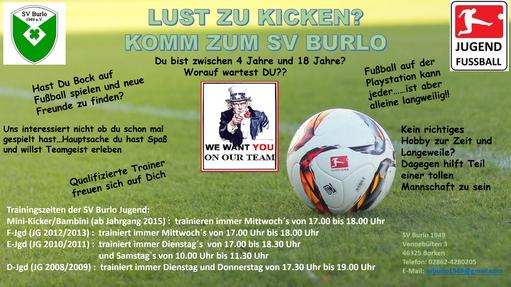 Wir suchen DICH!! Komm zum SV Burlo und erlebe Spaß beim Fußball