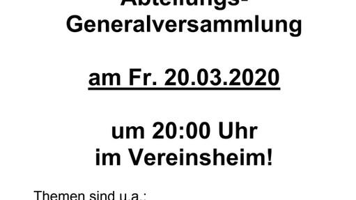 ABSAGE!! ACHTUNG!! SV BURLO Fußball Generalversammlung  am 20.03.20 im Vereinsheim
