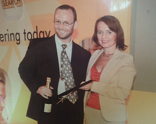 Chris Yates Winning a Yell Gold Award