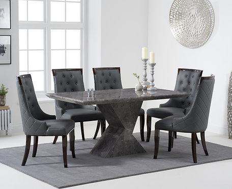 Allena 160cm (Grey) Marble Dining Set