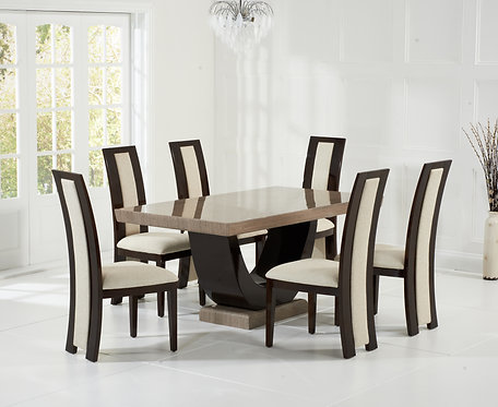 Rivilo 200cm Brown Marble Dining Set