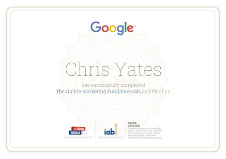 Google Fundamentals Exam Certificate