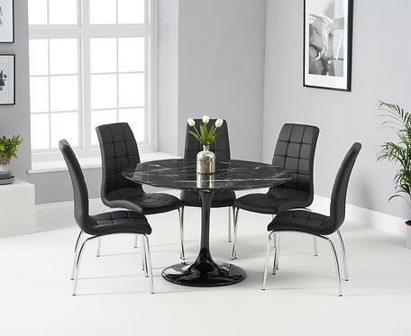 Brittney 120cm Round (Black Marble Effect) Dining Set