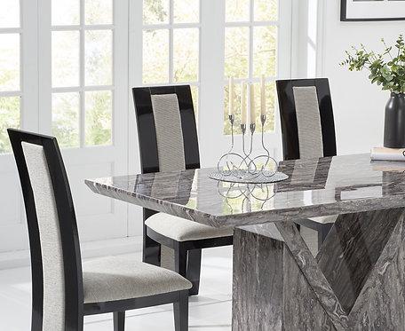 Misk 160cm Grey Marble Dining Set