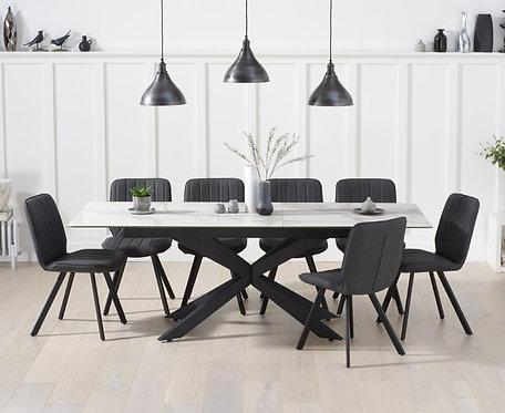 Brolli 180cm Extending White Ceramic Marble Table