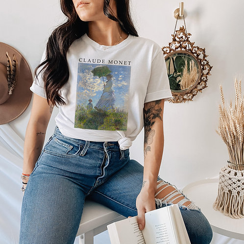 Monet Woman with a Parasol T Shirt - Art Aesthetic Clothing