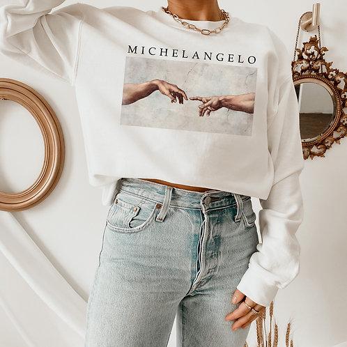 Michelangelo Creation of Adam Sweatshirt - Art Aesthetic Clothing