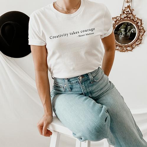 "Henri Matisse ""Creativity takes courage"" Quote Tshirt"