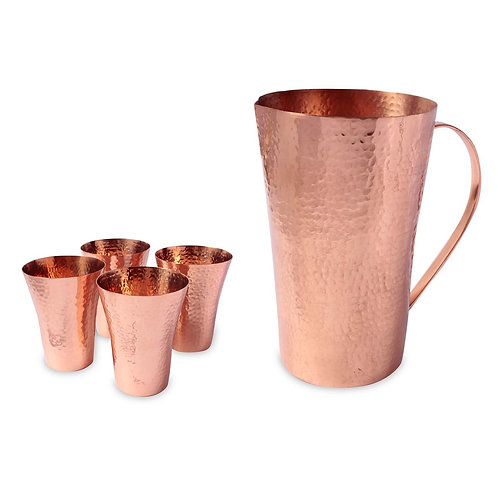 Set Of Hammered Copper Jug and 4 Glasses
