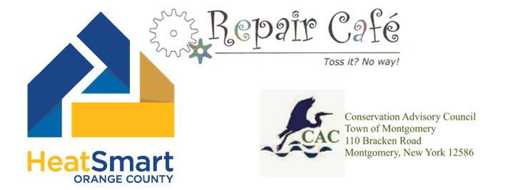 Logos for HeatSmart Orange, Repair Cafe and the Town of Montgomery CAC.