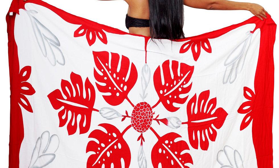 Pareo Long Tifaifai rouge/blanc