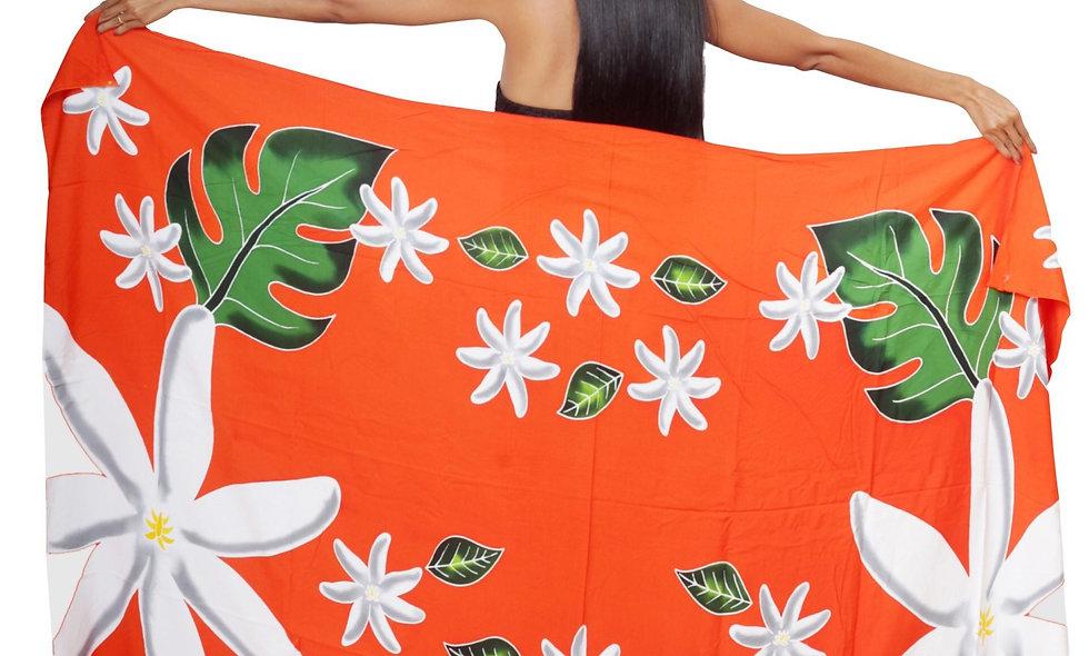 Pareo Long Tiare Tahiti Orange