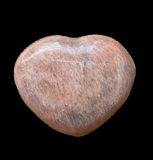 PEACH MOONSTONE HEART (XSmall) for New Beginnings, Hope & Harmony
