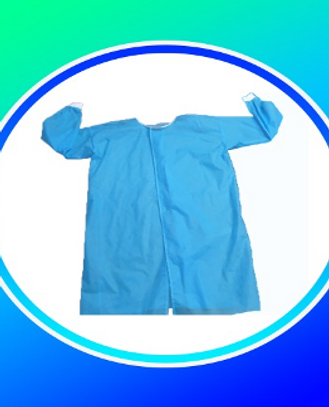 SURGICAL GOWN High grade Non- woven PP. 100% fluid resistant , 40GSM, Color Blue ,Neck & Cuff 1X1 RIB