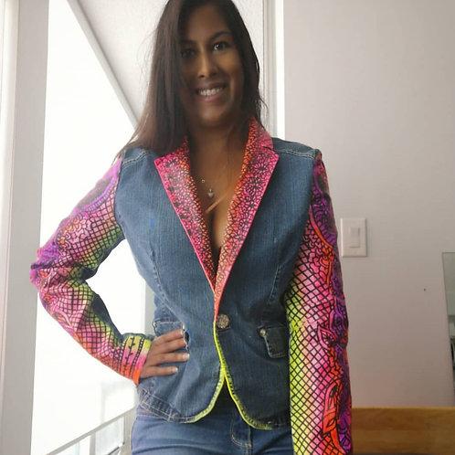Handpainted denim jacket by Roshni Wijayasinha