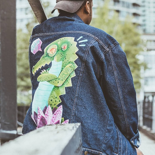 Handpainted denim jacket by roberto Fuan