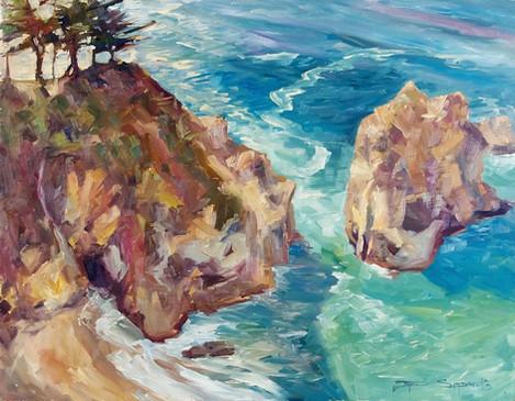 Dancing Trees Of Big Sur 20x16 oil on board, en plain air
