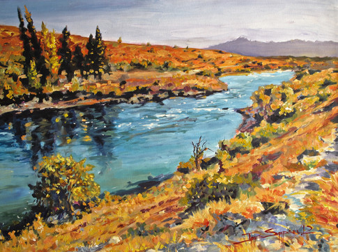 Unbearably Blue Water of the Rio Limay, 29x20 acrylic on canvas, SOLD