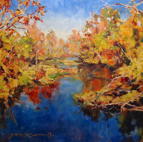 Hawe River Hues 20x20 oil on canvas SOLD