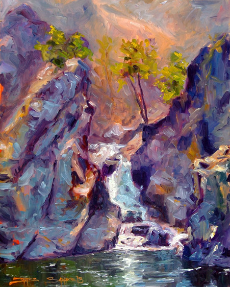 Staircase Falls 16x20 oil on board