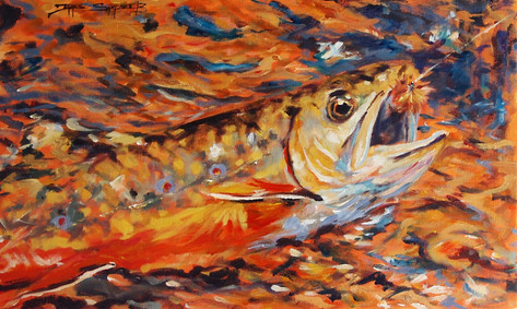 Hooked Brook, 12x16 acrylic on board, SOLD