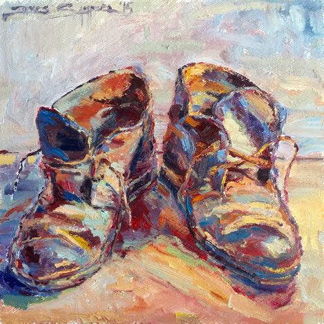 These Shoes are Meant for Walking, 20x20 oil on board, plein air SOLD