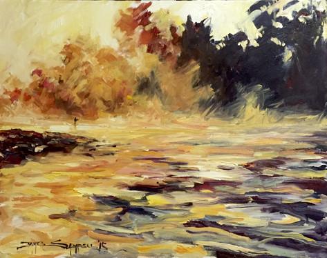 Lifting Fog on Matson, 16x20 oil on canvas