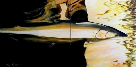 Silver Bullet, 2 20x20 acrylic on canvas