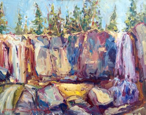 McKay Falls, 16x20 oil on board, plein air
